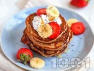 Веган палачинки с банан, ягоди, брашно от спелта и бадемово мляко